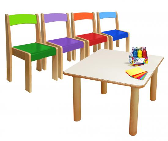 Kit risparmio materna tavolo quadrato 4 sedie colorate - Sedie colorate per cucina ...