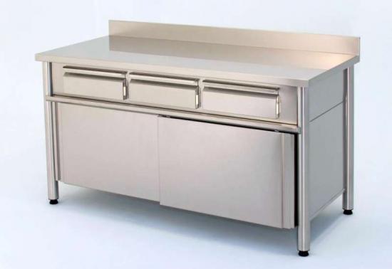 Linea cucina tavolo armadiato con ante scorrevoli e due - Mobile con cassetti per cucina ...