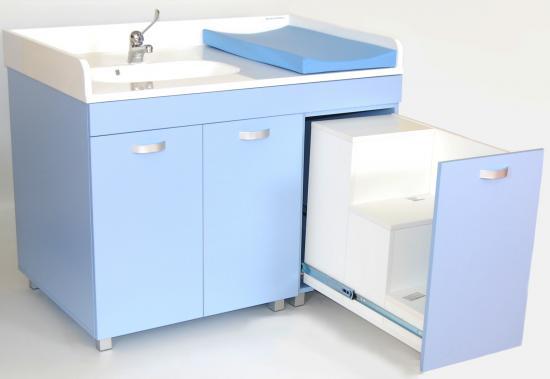 Mobile fasciatoio con lavello ed un piano di cambio - Fasciatoio bagno ...