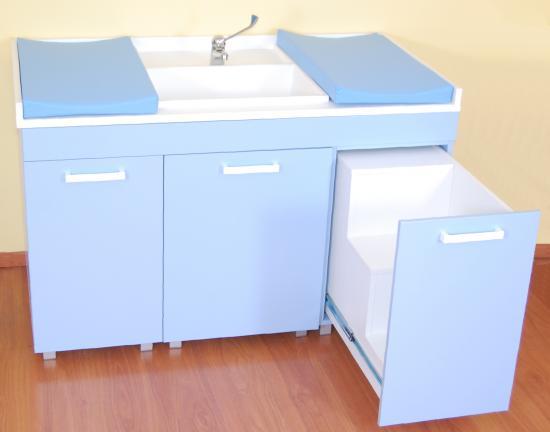 Mobile fasciatoio con lavello e due piani di cambio - Fasciatoio bagno ...